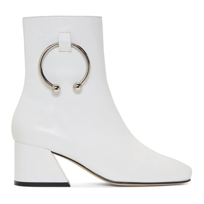 White Leather Nizip Boots
