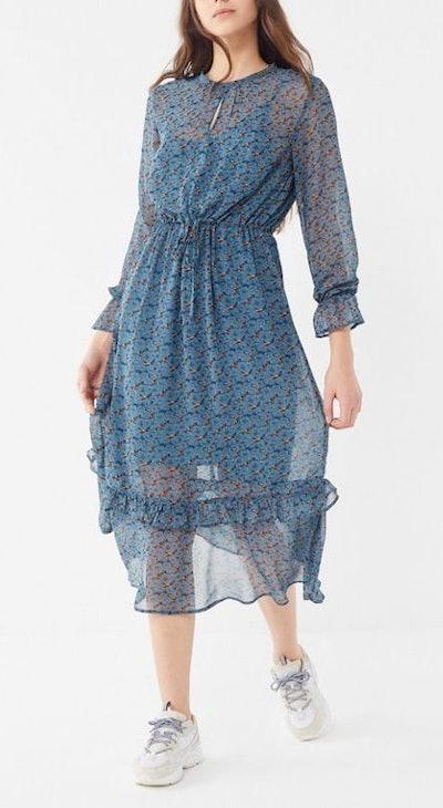 Maine Sheer Ruffle Midi Dress