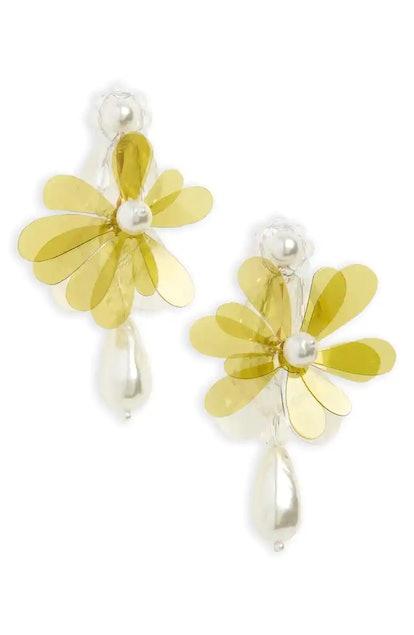 Simone Rocha Beaded Flower Drop Earrings
