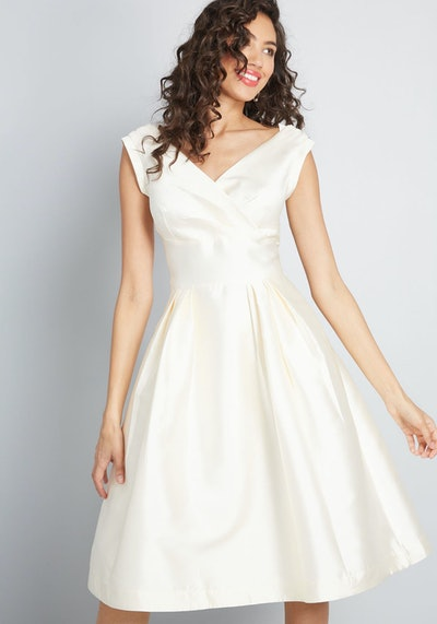 Asymmetric Midi Wrap Dress