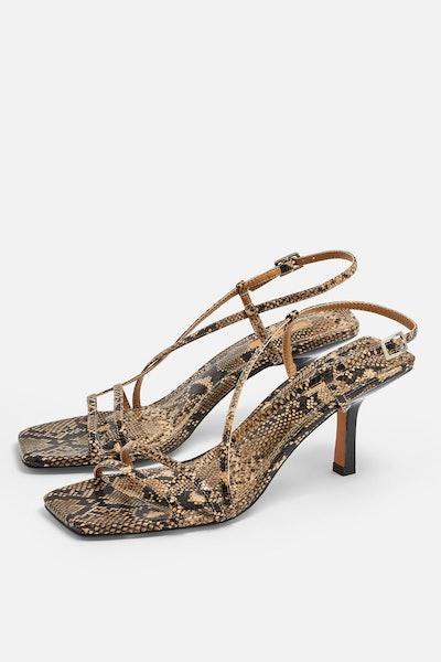 STRIPPY Snake Heeled Sandals