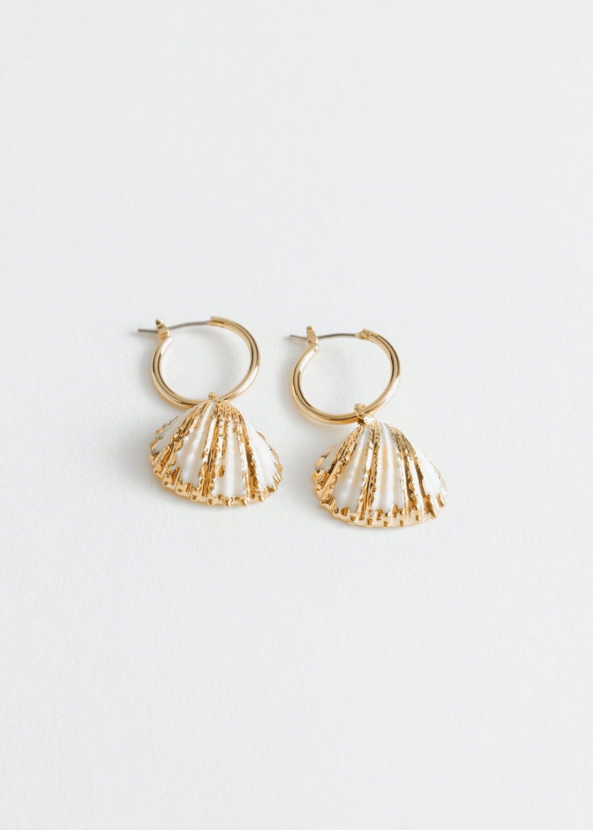 Shell Charm Hoop Earrings