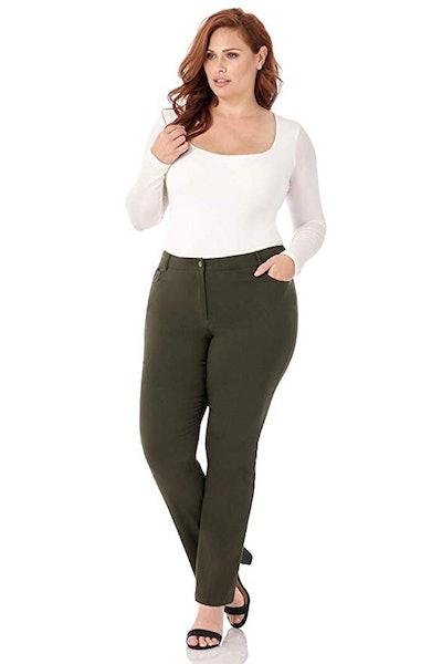 Rekucci Curvy Woman Straight Leg Plus Size Pant
