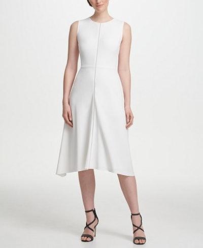 DKNY Zipper Detail Fit-and-Flare Midi Dress