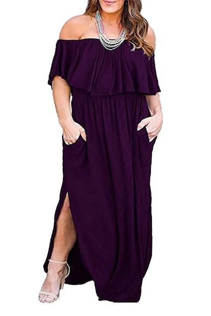 Nemidor Women's Off Shoulder Plus Size Maxi Dress