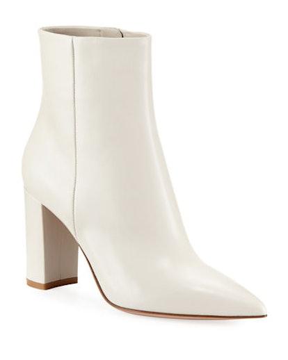 Pointy-Toe 85mm Leather Block-Heel Bootie