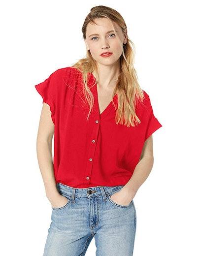 J.Crew Mercantile Women's Ruffle Sleeve Camp Shirt