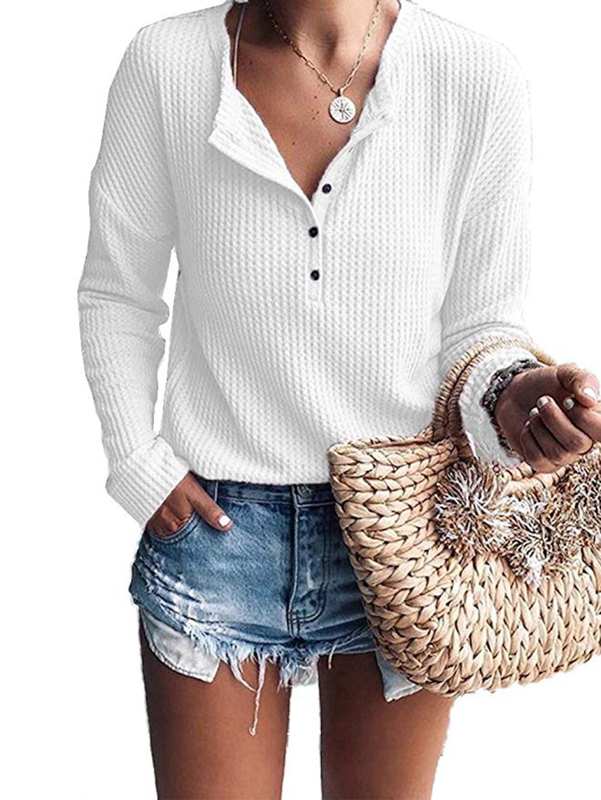 Famulily Women's Waffle Knit Tunic Top