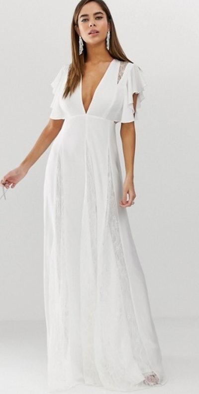 ASOS DESIGN Maxi Dress With Lace Godet Panels