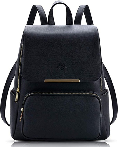 COOFIT Black Faux Leather Backpack