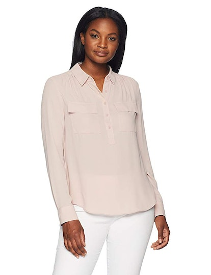 Lark & Ro Women's Sheer Utility Blouse
