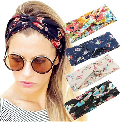 Women's Criss-Cross Floral Headbands (Set of 4)