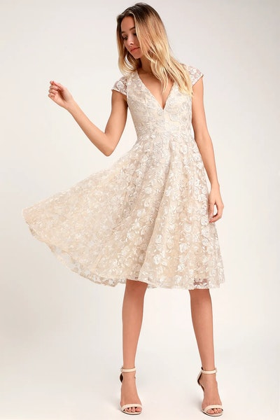 Champagne Floral Lace Midi Dress