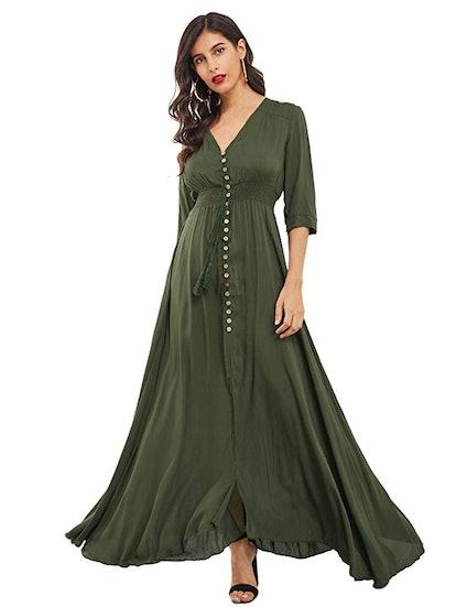 Milumia Women's Button-Up Flowy Maxi Dress