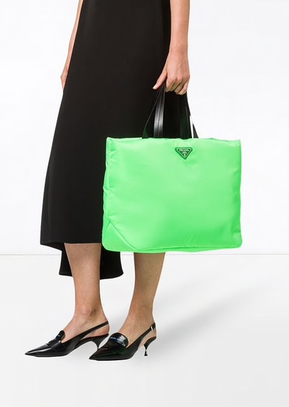 Neon Green Padded Tote Bag