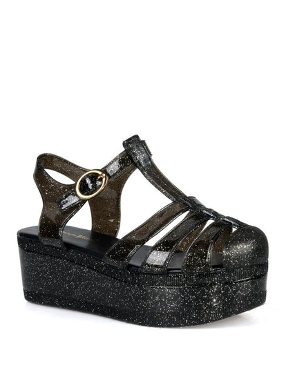 Nature Breeze caged Jelly Platform Women's Sandals in Black