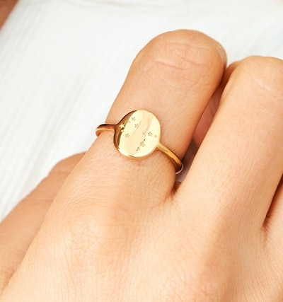 Gemini Zodiac Signet Ring - 14k Solid Gold