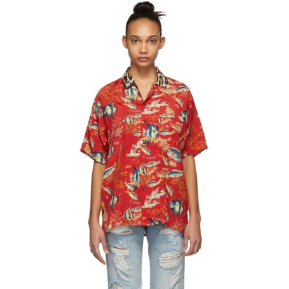 Red Fish & Leopard Hawaiian Shirt