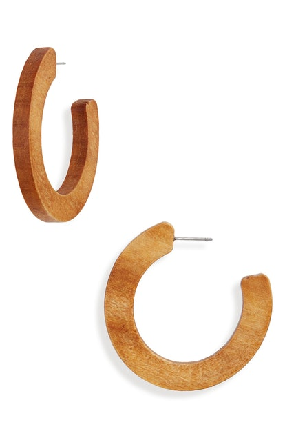 BP Chunky Wood Hoop Earrings