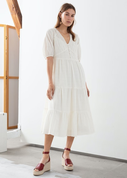 Ruffle Tier Cotton Midi Dress
