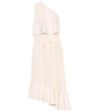 One-Shoulder Silk Midi Dress