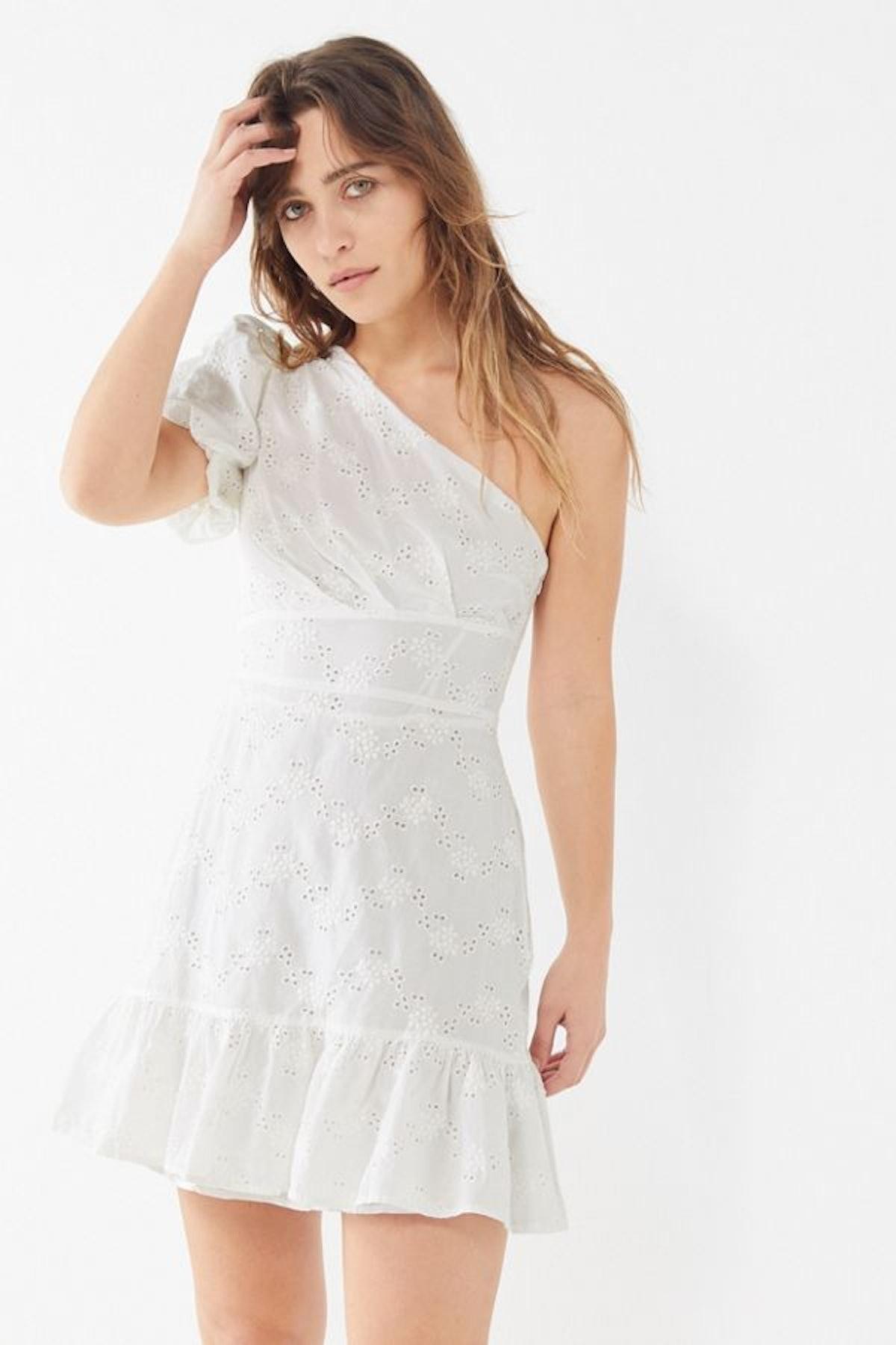 UO Claire Ruffle One-Shoulder Mini Dress