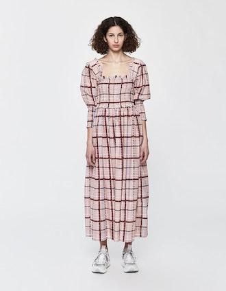 Smocked Silk Maxi Dress