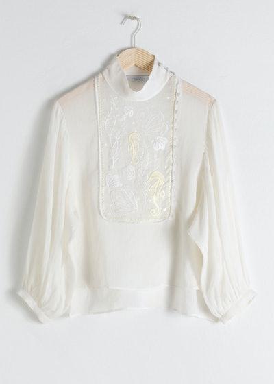 Sheer Embroidered Linen Blend Blouse