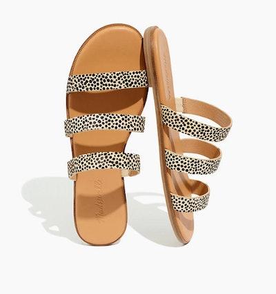 The Ilana Slide Sandal in Spot Dot Calf Hair