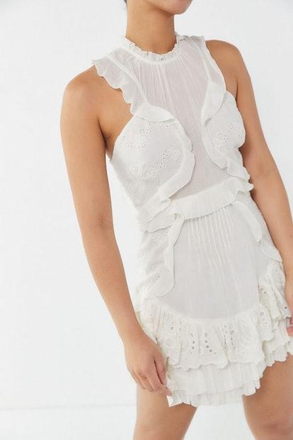 UO Mia Eyelet Ruffle Mini Dress