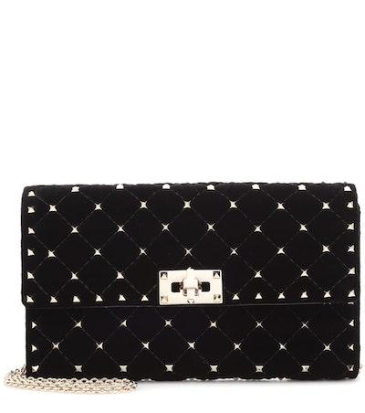 Rockstud Spike Velvet Shoulder Bag