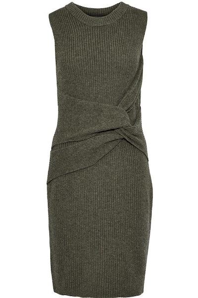 Twist-Front Ribbed Wool Mini Dress