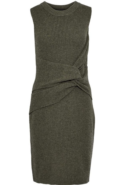 Twist-Front Ribbed Wool Mini Dress