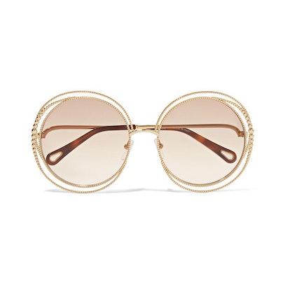 Oversized Round-Frame Gold-Tone Sunglasses