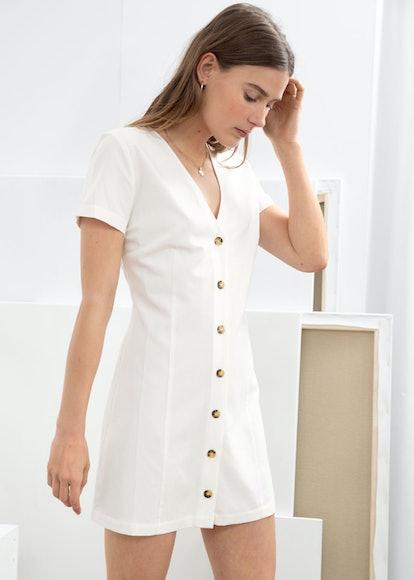 Hourglass Cotton Blend Mini Dress