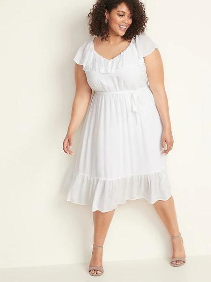 Tie-Belt Plus-Size Ruffle-Trim Midi Dress