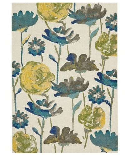 96X132 Rug-Cobalt And Yellow Floral