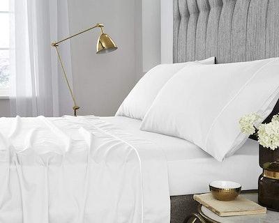 One Park Linen GOTS-Certified Organic Cotton Sateen Weave 400 Thread Count Sheet Set (Queen)