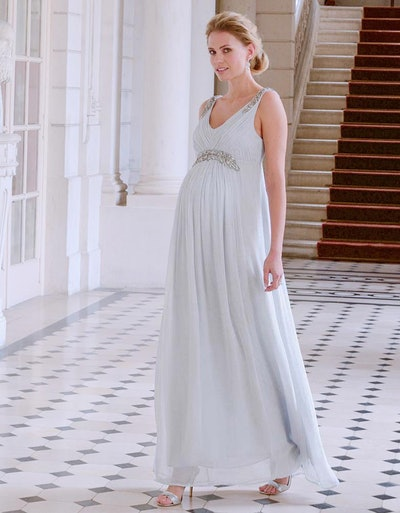Mist Gray Embellished Maternity Gown