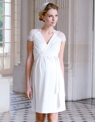 White Lace Detail Wrap Maternity Dress