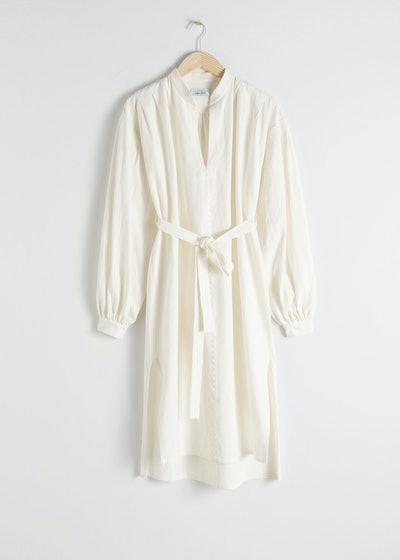 Belted Cotton Linen Midi Dress