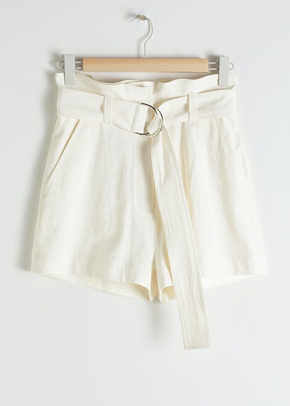Cotton Linen Belted Shorts