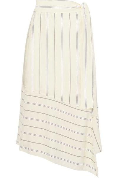 Asymmetric Striped Satin-Crepe Midi Wrap Skirt
