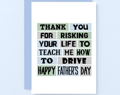 Funny Fathers Day Card - Learning To Drive