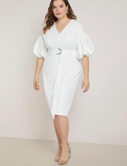 Puff Sleeve Sheath Dress
