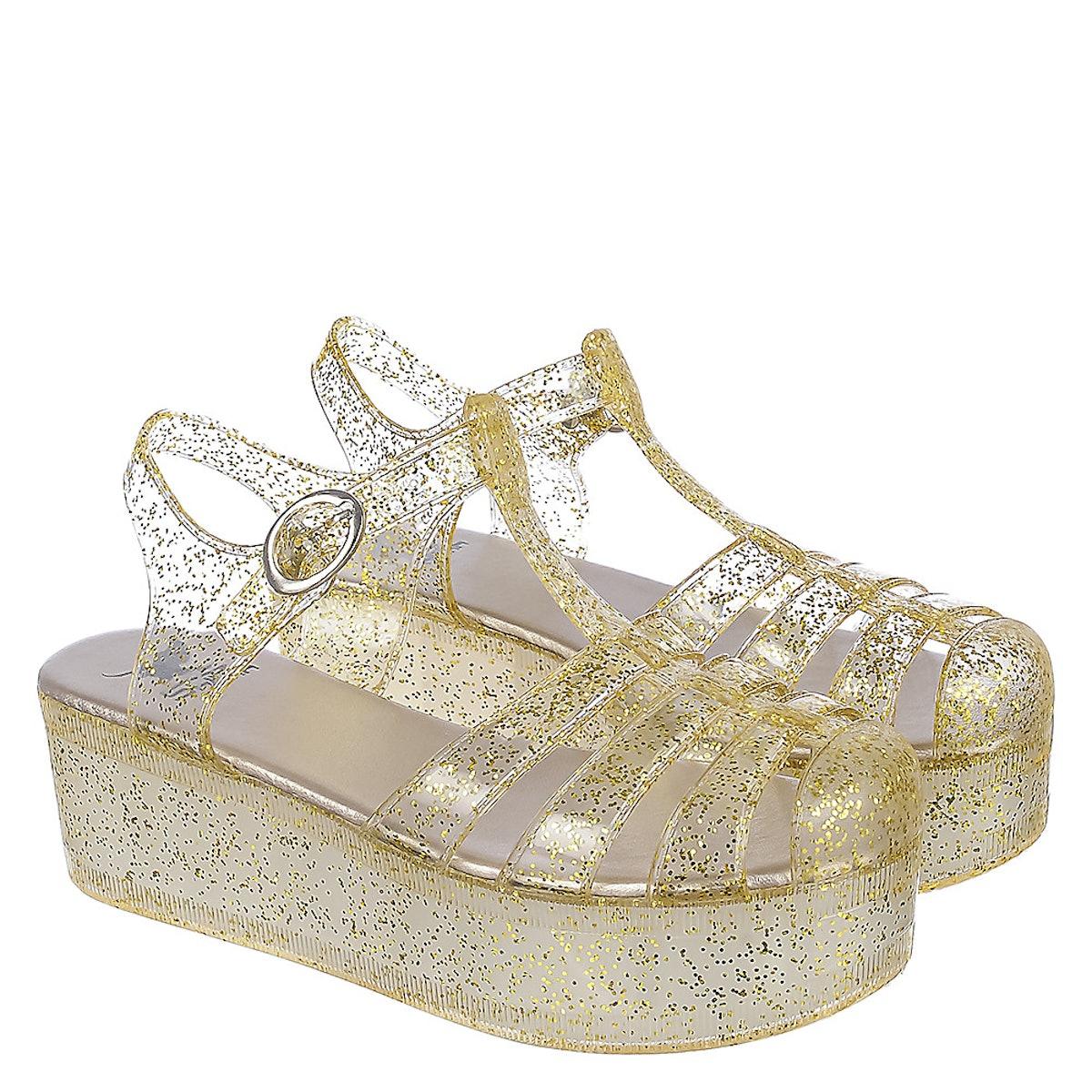 Gold Women's Disco-01 Platform Jelly Sandal