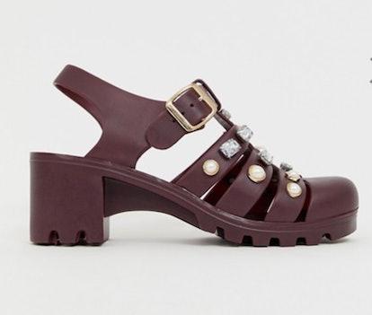 ASOS DESIGN Fascinate embellished heeled jelly sandals