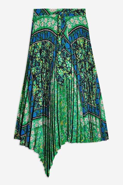 Green Paisley Print Midi Skirt