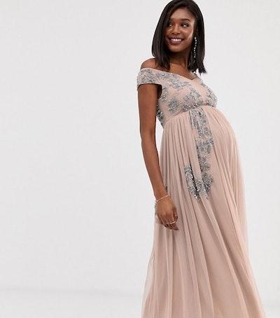 Maya Maternity Square Neck Bardot Floral Embellished Midaxi Dress