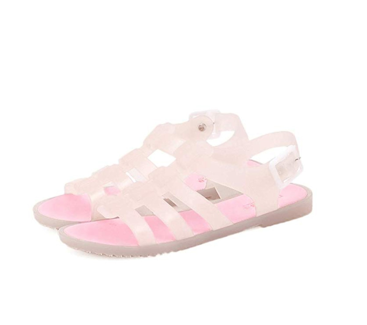 Yehopere Women's Jelly Sandals T-Strap Slingback Flats Clear Summer Beach Rain Shoes